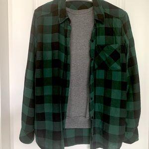 Vintage Green Plaid Shirt Small